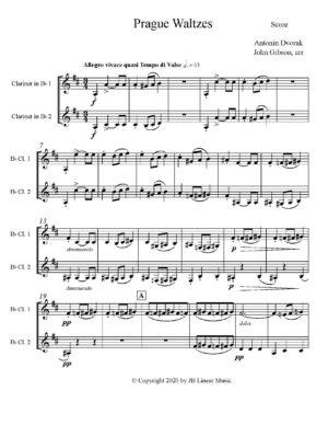 Antonin Dvorak Prague Waltzes set for Clarinet Duet