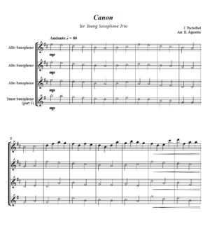 Pachelbel's Canon for Young Players – Saxophone Trio