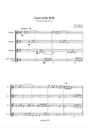 Carol of the Bells – a Jazz Arrangement – for Clarinet Quartet