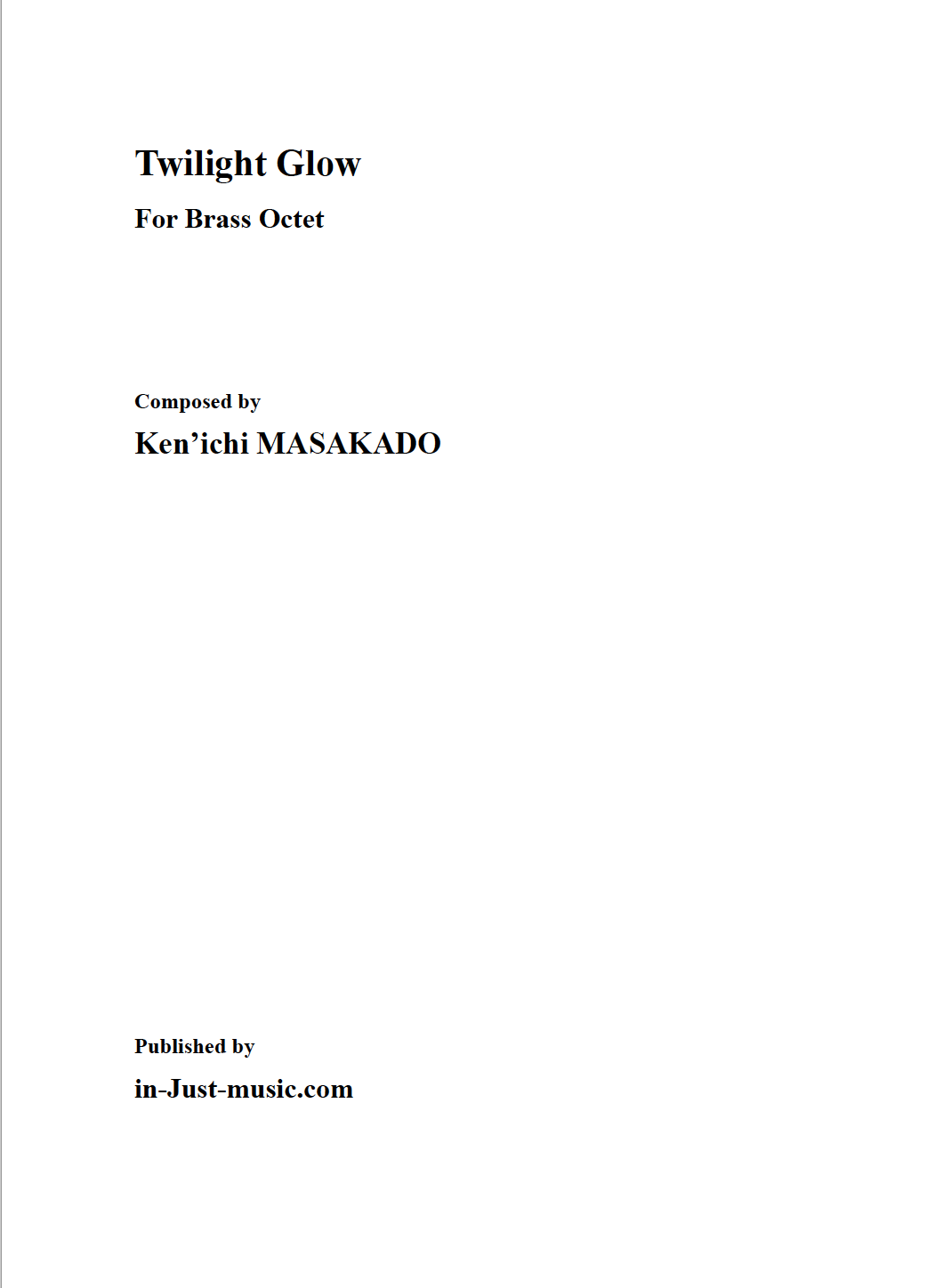 Twilight Glow, for Brass Octet (Score)