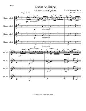Cecile Chaminade Danse Ancienne set for Clarinet Quartet