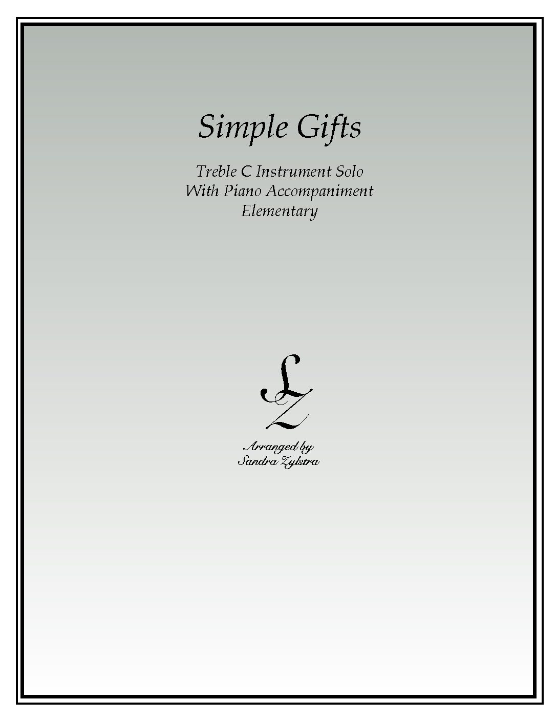 Simple Gifts -Treble C Instrument Solo