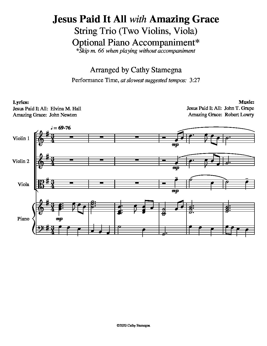 """Jesus Paid It All (with """"Amazing Grace"""") – String Trio, Optional Piano Accompaniment"""