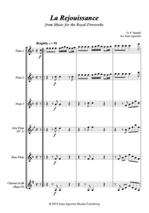 La Rejouissance (Handel) – for Flute Quartet