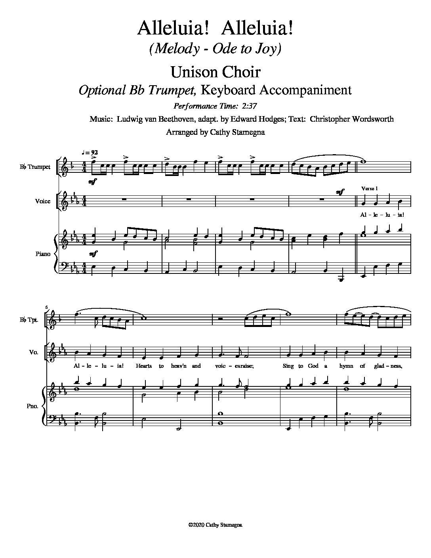 Alleluia! Alleluia! – (melody is Ode to Joy) – Unison Choir, Optional Bb Trumpet, Keyboard Accompaniment