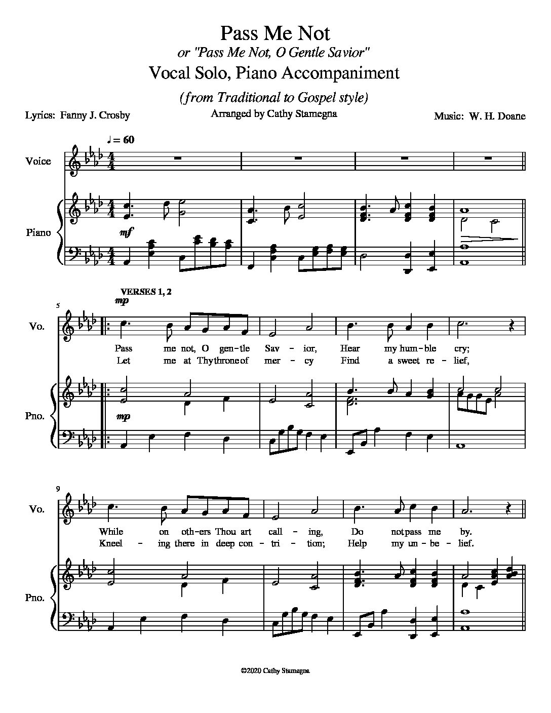 "Pass Me Not (or ""Pass Me Not, O Gentle Savior"") for Piano Solo, Vocal Solo or Unison Choir"