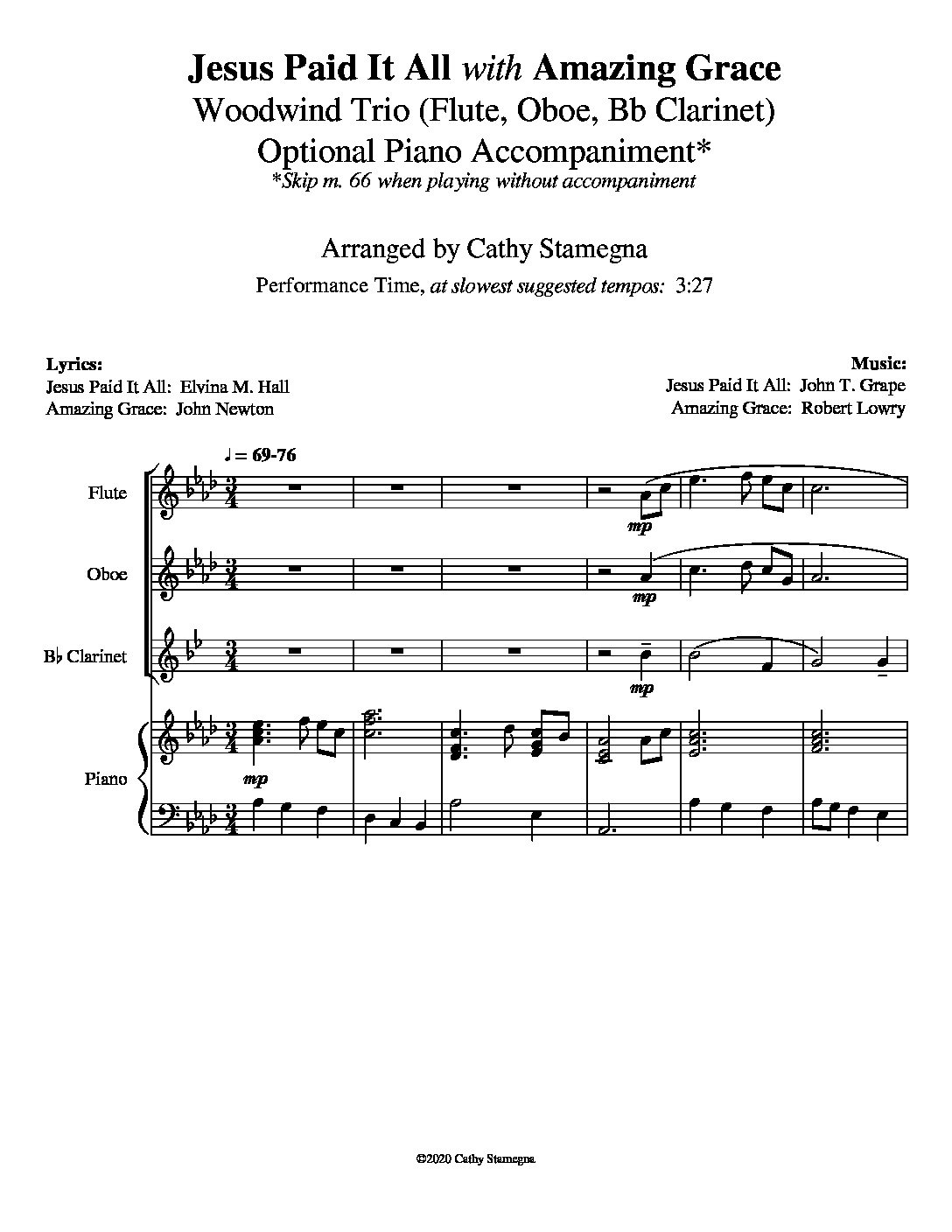 """Jesus Paid It All (with """"Amazing Grace"""") – Woodwind Trio, Optional Piano Accompaniment"""