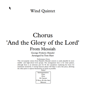 Glory of the Lord (from Messiah) – Wind Quintet