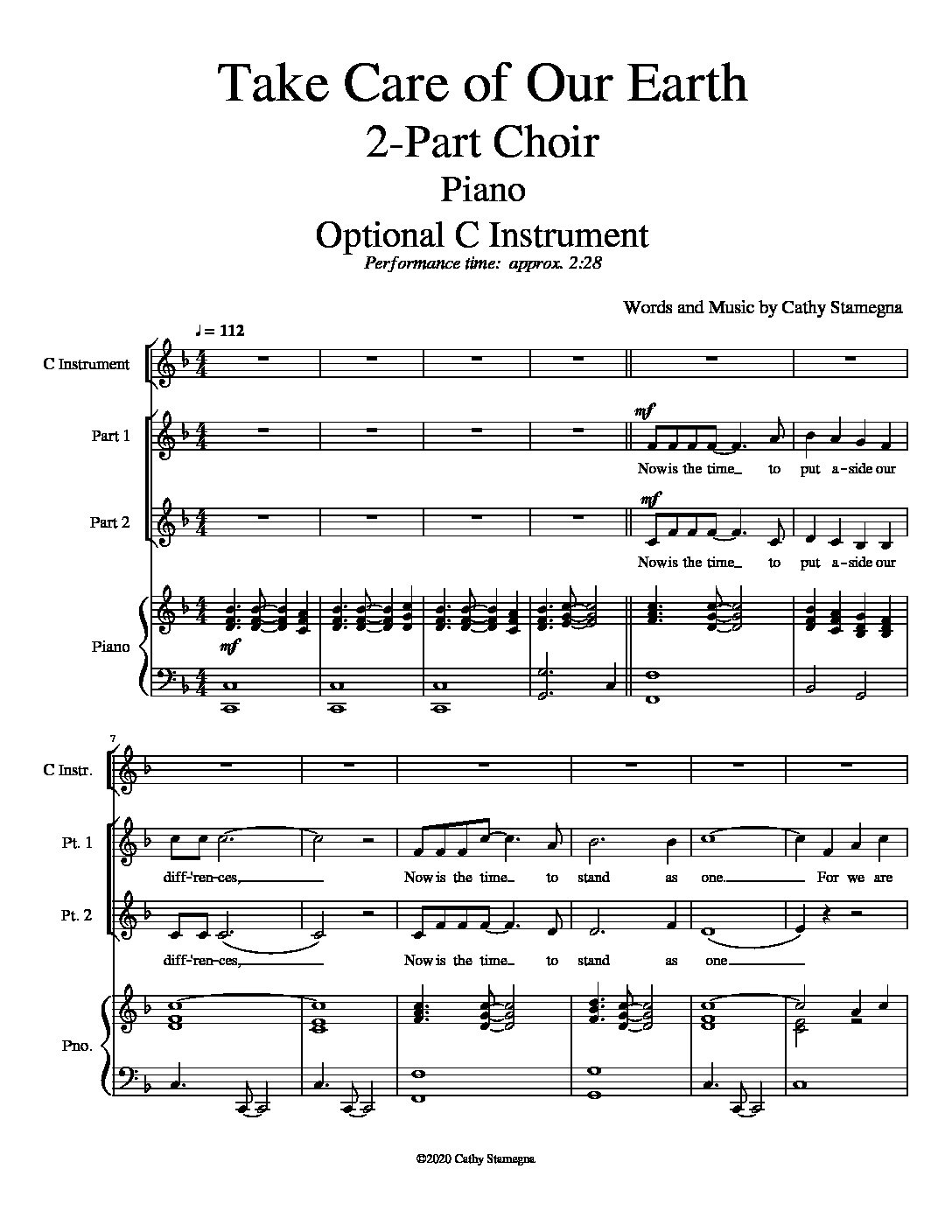 Take Care of Our Earth (Piano, Optional C Instrument) for Unison, 2-Part Choir; Accompaniment Track