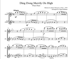 Ding Dong Merrily On High, for Flute Duet