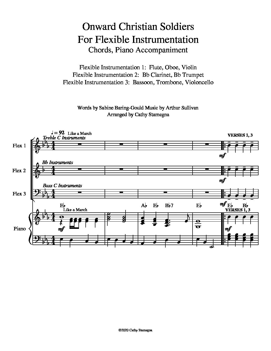 Onward Christian Soldiers (Flexible Instrumentation, Chords, Piano Accompaniment)