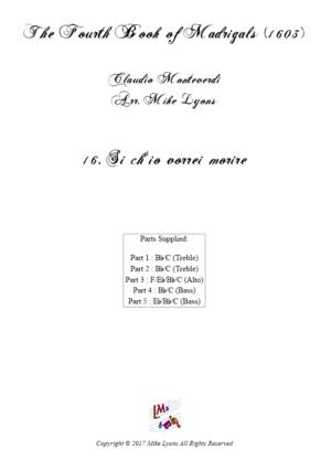 Flexi Quintet – Monteverdi, 4th Book of Madrigals – 16. Si ch'io vorrei morire