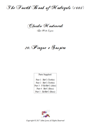 Flexi Quintet – Monteverdi, 4th Book of Madrigals – 20. Piagne e sospira