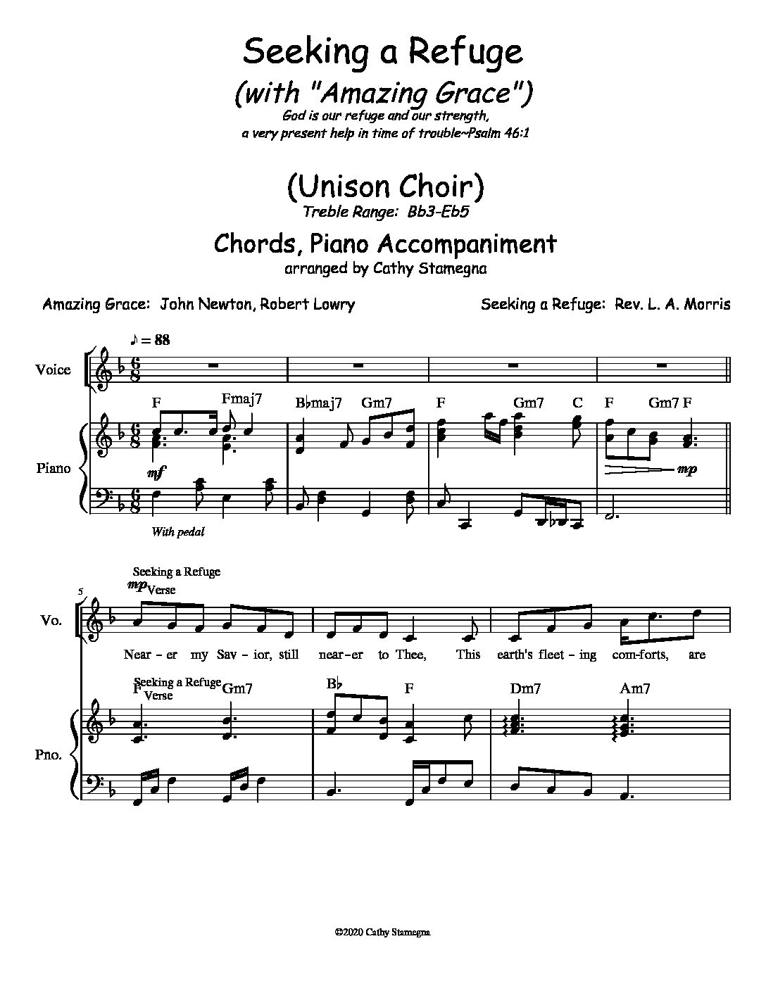 "Seeking a Refuge (with ""Amazing Grace"") (Chords, Piano Accompaniment) for Unison, 2-Part Choir; Vocal Solo"