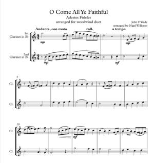 O Come All Ye Faithful, for Clarinet Duet