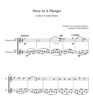Away In A Manger, for Clarinet Duet