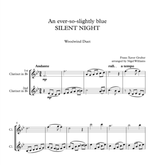 An ever-so-slightly blue SILENT NIGHT, for Clarinet Duet