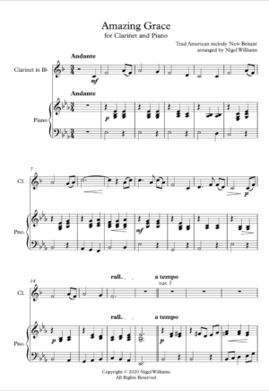 Amazing Grace, for clarinet and piano