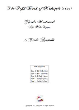 Flexi Quintet – Monteverdi, 5th Book of Madrigals (1605) – 01. Cruda Amarilli