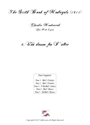 Flexi Quintet – Monteverdi, 6th Book of Madrigals (1614) – 06. Una donna fra I' altre