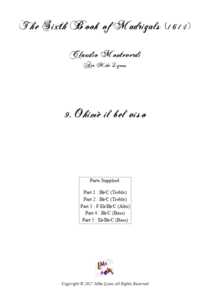 Flexi Quintet – Monteverdi, 6th Book of Madrigals (1614) – 09. Ohimè il bel viso