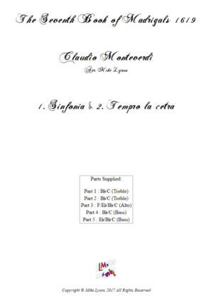 Flexi Quintet – Monteverdi, 7th Book of Madrigals (1614) – 01. Sinfonia and Tempro la cetra a5
