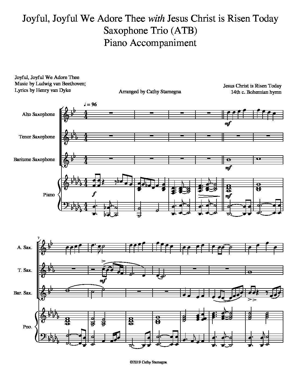 "Joyful, Joyful We Adore Thee (with ""Jesus Christ is Risen Today"") Saxophone Trio (ATB, Piano); Acc. Track"