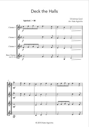 Deck the Halls – Clarinet Quartet