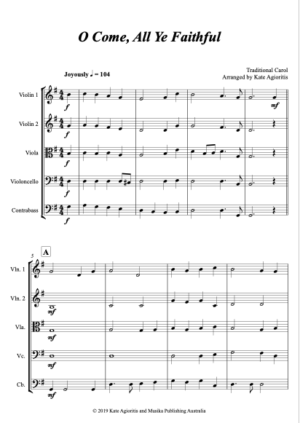 O Come, All Ye Faithful – for String Orchestra or Quintet