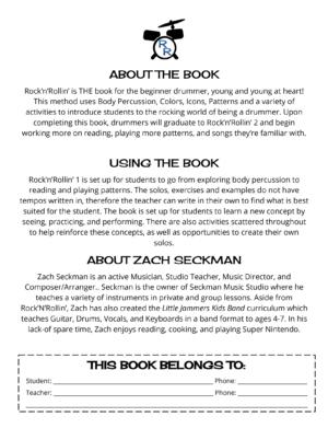 Rock'N'Rollin' Beginner Drumset Method Book 1