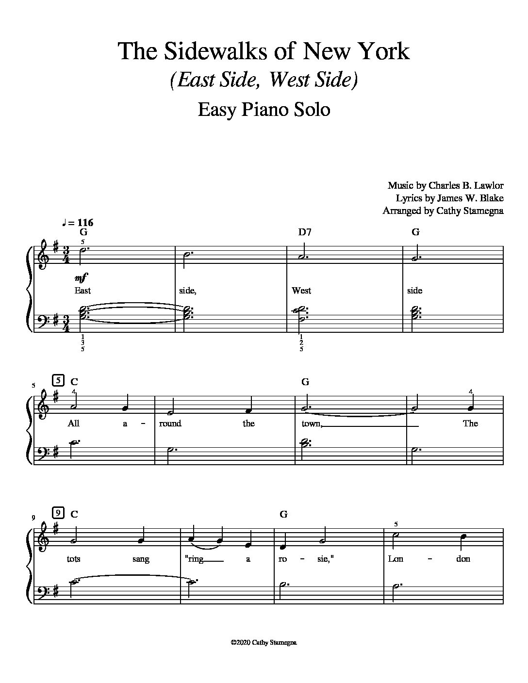 The Sidewalks of New York (East Side, West Side) (Easy Piano Solo)