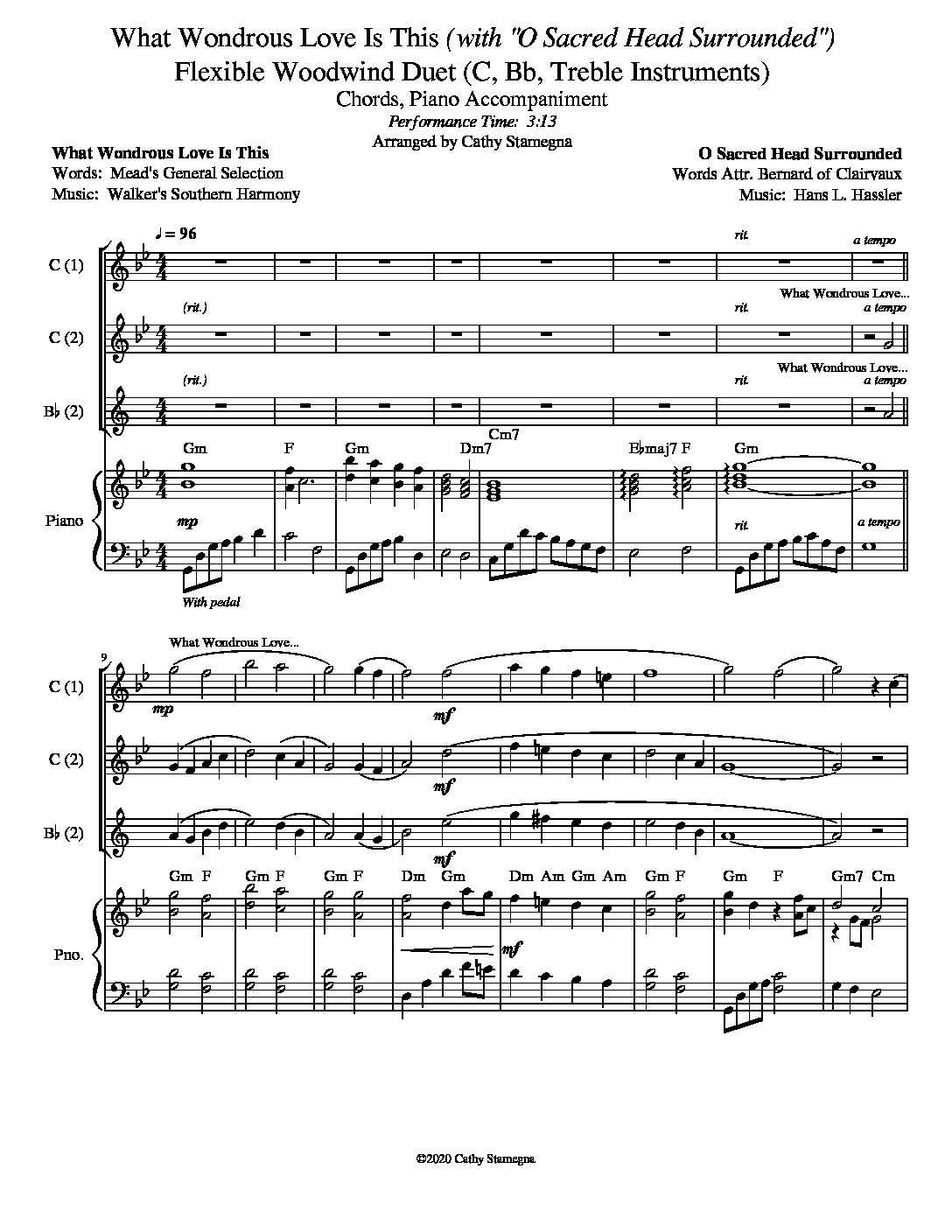 """What Wondrous Love Is This (with """"O Sacred Head Surrounded"""") (Flexible Woodwind Duet for Treble C, Bb Instruments, Chords, Piano)"""
