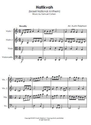 Hatikvah הַתִּקְוָה, الأمل (Israeli National Anthem) – string quartet
