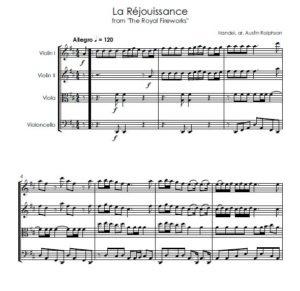 La Rejouissance (Fireworks) – string quartet